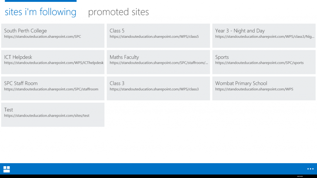 Touch view of Sites in Office 365 on Microsoft Surface
