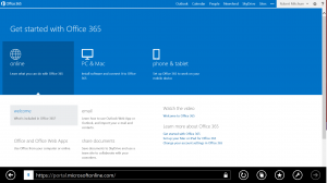 Office 365 Start Screen